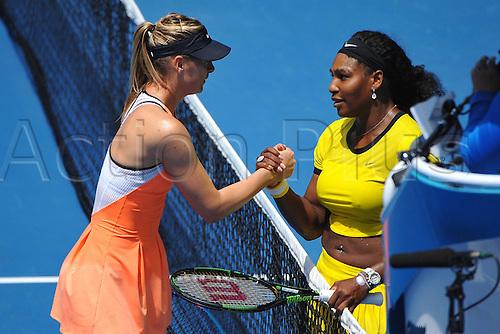 26.01.2016. Melbourne Park, Melbourne, Australia. Australian Open Tennis Championships.  Serena Williams during her quarter-final win over Maria Sharapova