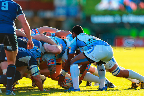 11.05.2013 Dublin, Ireland.  Niko Matawalu (Glasgow) puts in to the scrum during the RaboDirect PRO12 Semi Final game between Leinster and Glasgow Warriors from the Royal Dublin Society.