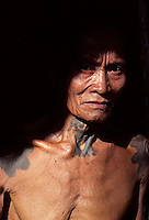An Iban warrior in Sarawak, Borneo, Malaysia, note the traditional tattoo