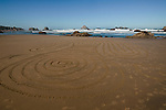 Bandon Beach meditative sand labyrinth in the morning. A regular ritual in this community.