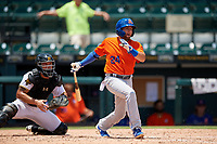 St. Lucie Mets Blake Tiberi (24) at bat in front of catcher Deon Stafford during a Florida State League game against the Bradenton Marauders on July 28, 2019 at LECOM Park in Bradenton, Florida.  Bradenton defeated St. Lucie 7-3.  (Mike Janes/Four Seam Images)