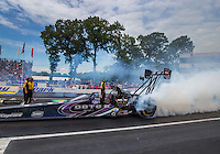 Jun 6, 2015; Englishtown, NJ, USA; NHRA top fuel driver Leah Pritchett during qualifying for the Summernationals at Old Bridge Township Raceway Park. Mandatory Credit: Mark J. Rebilas-