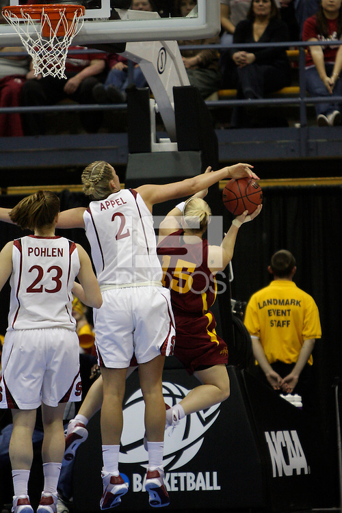 BERKELEY, CA - MARCH 30: Jayne Appel blocks an Iowa State guard layup attempt during Stanford's 74-53 win against the Iowa State Cyclones on March 30, 2009 at Haas Pavilion in Berkeley, California.