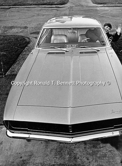Ron Bennett News Photographer leaves for Los Angeles California and United Press International Newspictures, in his new Camero,