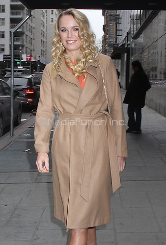 NEW YORK, NY - FEBRUARY 15: Professional tennis player Caroline Wozniacki spotted leaving 'Good Day New York' where she promoted her inclusion in 'The Sports Illustrated Swimsuit Edition 2016' in New York, New York on February 15, 2016. Photo Credit: Rainmaker Photo/MediaPunch