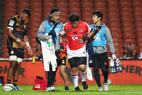 April 29th 2017, FMG Stadium Waikato, Hamilton, New Zealand; Super Rugby; Chiefs versus Sunwolves;  Sunwolves prop Heiichiro Ito leaves the field with an injury during the Super Rugby rugby match