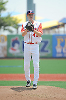 Brooklyn Cyclones pitcher Josh Prevost (46) during game 1 of a double header against the Hudson Valley Renegades at MCU Park on July 8, 2014 in Brooklyn, NY.  Brooklyn defeated Hudson Valley 3-0.  (Tomasso DeRosa/Four Seam Images)