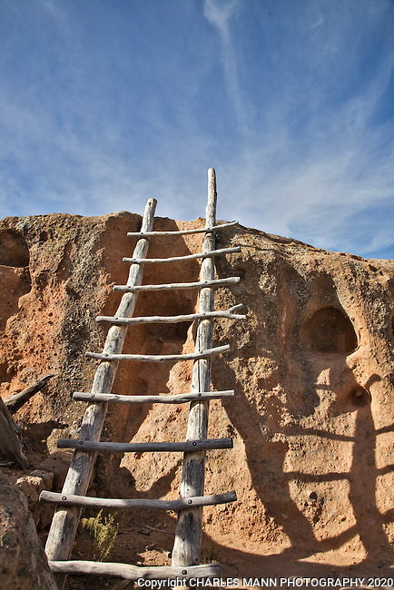 Hikers at Tsannkawi, a part of bandelier National Monument near the New Mexico towns of Los Alamos and White Rock, must climb ladders along parts of the trail.