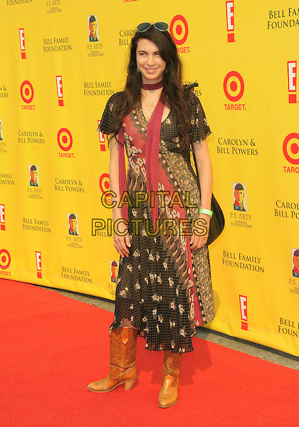 SHIVA ROSE .at The 2008 P.S. Arts' Express Yourself sponsored by Target held at Barker Hangar in Santa Monica, California, USA,  November 16th 2008.                                                                     .full length patterned dress black red scarf brown print cowboy boots .CAP/DVS.©Debbie VanStory/Capital Pictures