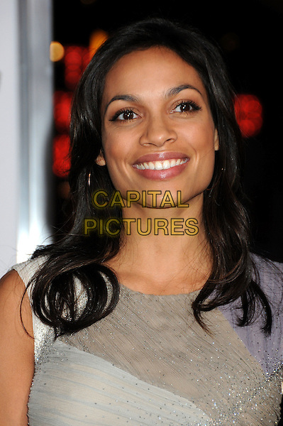 "ROSARIO DAWSON.at Alcon Entertainment's L.A. Premiere of ""The Book of Eli"" held at The Chinese Theatre in Hollywood, California, USA, .January 11th 2010. .portrait headshot smiling grey gray beaded beige cream purple .CAP/ADM/BP.©Byron Purvis/AdMedia/Capital Pictures."