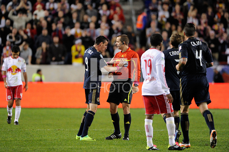 Sebastien Le Toux (9) of the Philadelphia Union argues a call with referee Mark Geiger. The New York Red Bulls defeated the Philadelphia Union  1-0 during a Major League Soccer (MLS) match at Red Bull Arena in Harrison, NJ, on October 20, 2011.