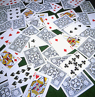 ENTROPY: DECK OF CARDS DROPPED ONTO A TABLE<br />