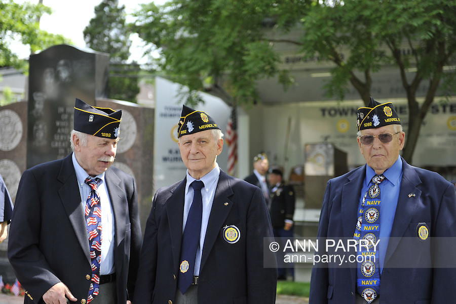 American Legionnaires at Merrick Memorial Day Ceremony on May 28, 2012, on Long Island, New York, USA. Veterans are member of American Legion Merrick Post 1282, which hosted the parade and ceremony. America's war heroes are honored on this National Holiday.