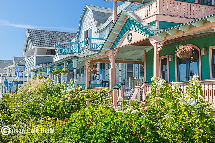 Victorian cottages at Ocean Park in Oak Bluffs, Marthas Vineyard, Massachusetts, USA