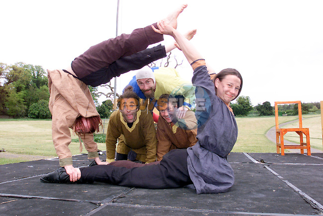 Members of the Belfast Community Circus showing off some of there tricks for the crowds at teh mevievel festival at Slane castle..Photo Fran Caffrey/Newsfile.ie..This picture has been sent to you by:.Newsfile Ltd,.3 The View,.Millmount Abbey,.Drogheda,.Co Meath..Ireland..Tel: +353-41-9871240.Fax: +353-41-9871260.GSM: +353-86-2500958.ISDN: +353-41-9871010.IP: 193.120.102.198.www.newsfile.ie..email: pictures@newsfile.ie..This picture has been sent by Fran Caffrey.francaffrey@newsfile.ie