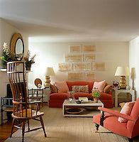 Antiques and contemporary furniture in a comfortable living room