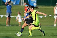 Kansas City, MO - Saturday June 25, 2016: Shea Groom, Kendall Fletcher during a regular season National Women's Soccer League (NWSL) match at Swope Soccer Village.