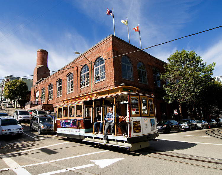 California, San Francisco: A Cable Car passes the Cable Car Museum..Photo #: 5-casanf77986.Photo © Lee Foster 2008