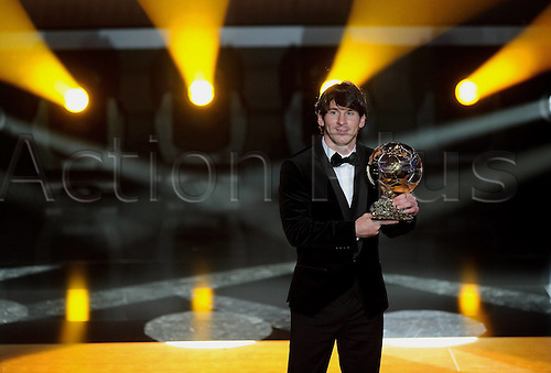 10.01.2011 Argentina and Barcelona forward Lionel Messi wins the inaugural Fifa Ballon d'Or award at a ceremony in Zurich.