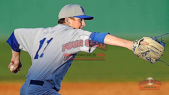 Starting pitcher Beau Dees (11) of the Presbyterian College Blue Hose in a game against the University of South Carolina Upstate Spartans on Friday, February, 21, 2014, at Cleveland S. Harley Park in Spartanburg, South Carolina. Presbyterian won, 5-1 and Dees got the win. (Tom Priddy/Four Seam Images)