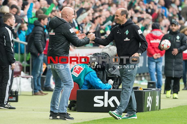 02.05.2015, Weser Stadion, Bremen, GER, 1.FBL. Werder Bremen vs Eintracht Frankfurt, im Bild<br /> <br /> <br /> Sieg / Jubel / gl&uuml;cklich / zufrieden<br /> Rouven Schr&ouml;der (Direktor Profifu&szlig;ball Werder Bremen) und Viktor Skripnik (Trainer Werder Bremen<br /> <br /> <br /> Foto &copy; nordphoto / Kokenge