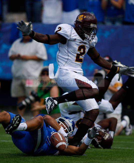 The University of Kentucky football team played Central Michigan University, in Commonwealth Stadium, on Saturday, September 10, 2011. The pass to UK wide receiver Matt Roark was ruled incomplete. Photo by Latara Appleby | Staff ...