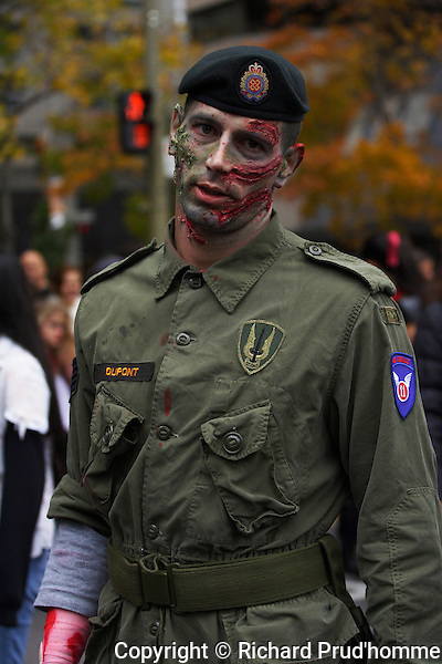 A Canadian  military zombie participating in Montreal's zombie parade