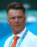 Netherlands manager Louis Van Gaal licks his lips