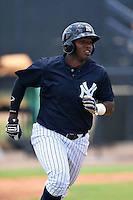 GCL Yankees 1 outfielder Alexander Palma (36) runs to first during the second game of a doubleheader against the GCL Braves on July 1, 2014 at the Yankees Minor League Complex in Tampa, Florida.  GCL Braves defeated the GCL Yankees 1 by a score of 3-1.  (Mike Janes/Four Seam Images)
