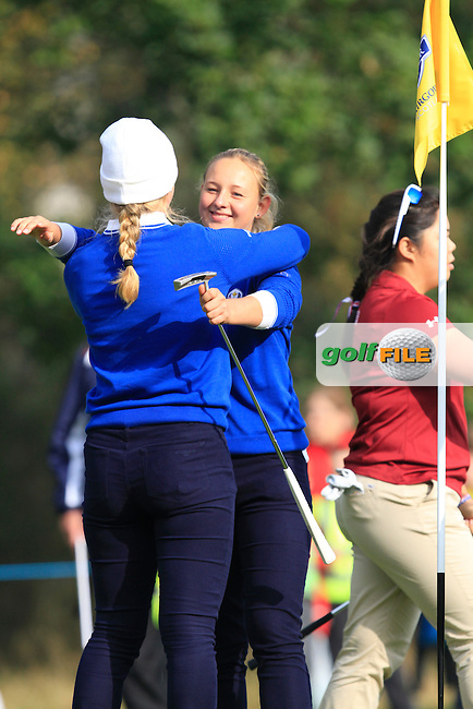 Linnea Strom (SWE) & Emily Pedersen (DEN) win there game 6&5 on the 13th green during the 2014 JUNIOR RYDER CUP at the Blairgowrie Golf Club, Perthshire, Scotland. Picture:  Thos Caffrey / www.golffile.ie