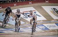 Madison World Champions Morgan Kneisky (FRA) & Benjamin Thomas (FRA) relaying at the 'Kuipke' velodrome<br /> <br /> Ghent 6day<br /> Belgium 2017