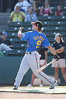 Lake Elsinore Storm outfielder Blake Tekotte of the California League All-Stars taking part in the home run derby before the California League vs. Carolina League All-Star game held at BB&T Coastal Field in Myrtle Beach, SC on June 22, 2010. The California League All-Stars defeated the Carolina League All-Stars by the score of 4-3.  Photo By Robert Gurganus/Four Seam Images