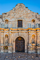 This is another verticle view of the Alamo at dusk.