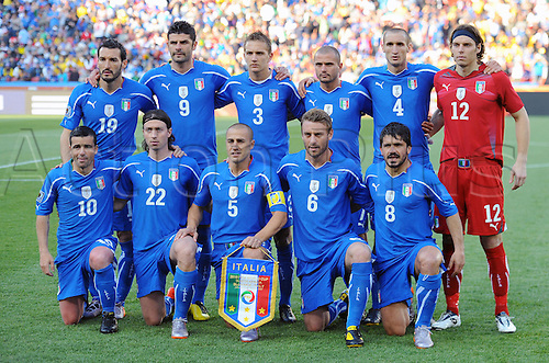 The Italian team poses before the 2010 FIFA World Cup soccer match between Slovakia and Italy at Ellis Park Stadium on June 24, 2010 in Johannesburg, South Africa.