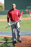 Vernon Wells #10 of the Los Angeles Angels participates in batting practice during spring training workouts at the Angels complex on February 22, 2011  in Tempe, Arizona. .Photo by:  Bill Mitchell/Four Seam Images.