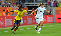 Tobin Heath (r) of team USA and Fatima Montano of team Columbia during the FIFA Women's World Cup at the FIFA Stadium in Sinsheim, Germany on July 2nd, 2011.
