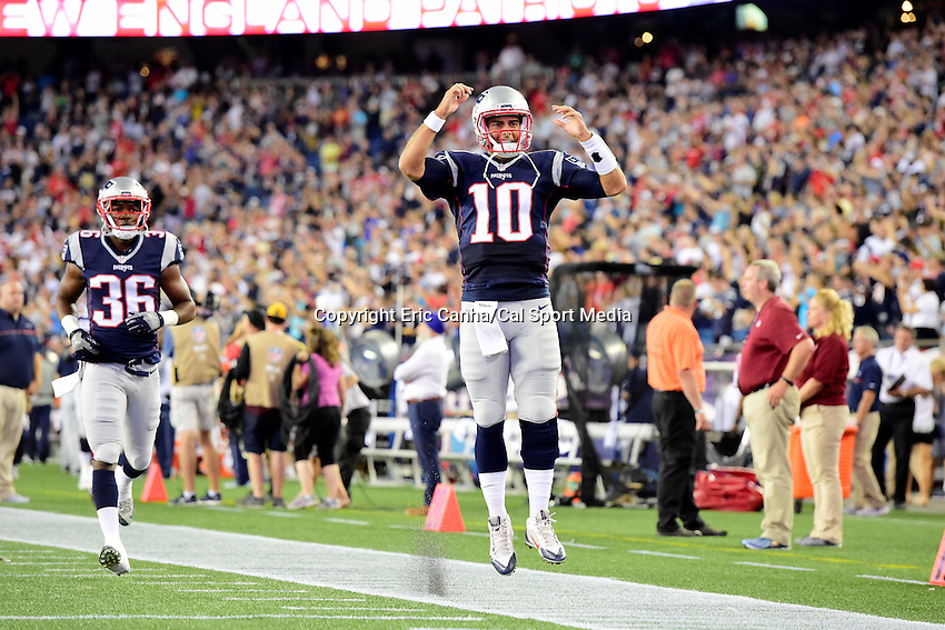 Thursday, August 18 2016: New England Patriots quarterback Jimmy Garoppolo (10) runs onto the field for a pre-season NFL game between the Chicago Bears and the New England Patriots held at Gillette Stadium in Foxborough Massachusetts. The Patriots defeat the Bears 23-22 in regulation time. Eric Canha/Cal Sport Media