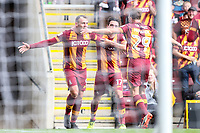 Charlie Wake of Bradford City celebrates scoring his hat trick with team mates Tony McMahon and Alex Gilliead during the Sky Bet League 1 match between Bradford City and Bristol Rovers at the Northern Commercial Stadium, Bradford, England on 2 September 2017. Photo by Thomas Gadd.