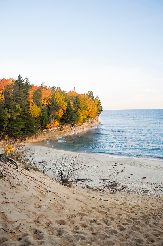 Fall color at Chapel Beach in Pictured Rocks National Lakeshore on Michigan's Upper Peninsula.