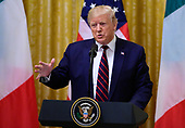 United States President Donald J. Trump answers reporter's questions as he and and President Sergio Mattarella of the Italian Republic conduct a joint press conference in the East Room of the White House in Washington, DC on Wednesday, October 16, 2019.<br /> Credit: Ron Sachs / CNP