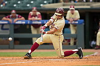 Cal Raleigh (35) of the Florida State Seminoles gets down low to stroke an RBI single to take a 4-3 lead over the North Carolina Tar Heels during the 2017 ACC Baseball Championship Game at Louisville Slugger Field on May 28, 2017 in Louisville, Kentucky.  The Seminoles defeated the Tar Heels 7-3.  (Brian Westerholt/Four Seam Images)