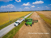 63801-08801 Soybean Harvest, unloading soybeans into semi-truck John Deere combine- aerial - Marion Co. IL