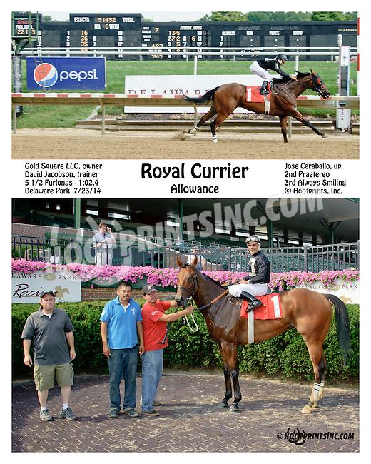 Royal Currier winning at Delaware Park on 7/23/14