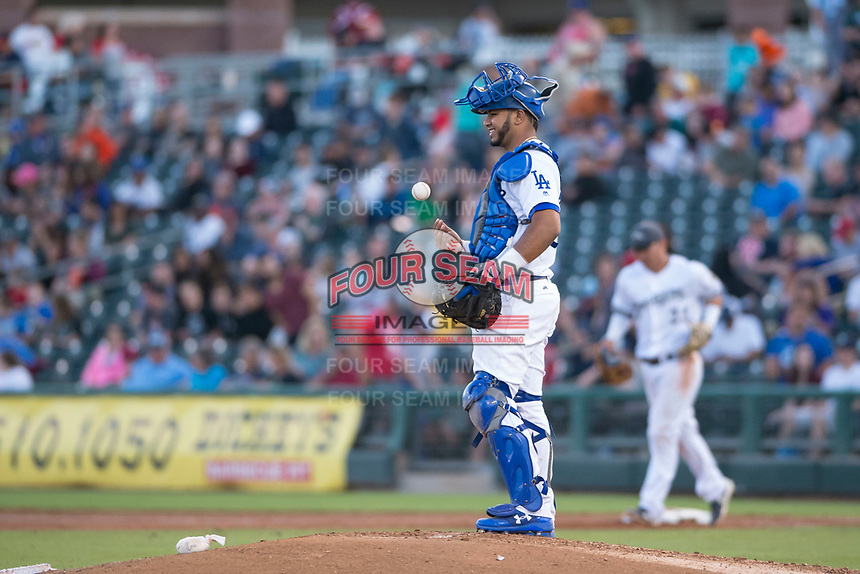 AFL West catcher Keibert Ruiz (17), of the Glendale Desert Dogs and the Los Angeles Dodgers organization, during the Fall Stars game at Surprise Stadium on November 3, 2018 in Surprise, Arizona. The AFL West defeated the AFL East 7-6 . (Zachary Lucy/Four Seam Images)