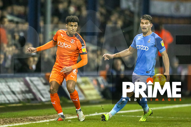 James Justin of Luton Town and Kai Bruenker of Bradford City during the Sky Bet League 1 match between Luton Town and Bradford City at Kenilworth Road, Luton, England on 27 November 2018. Photo by Thomas Gadd.
