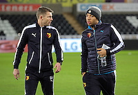 Troy Deeney of Watford (R) on the pitch before the Barclays Premier League match between Swansea City and Watford at the Liberty Stadium, Swansea on January 18 2016