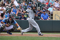 El Paso Chihuahuas Carlos Asuaje (2) swings during the game against the Omaha Storm Chasers at Werner Park on May 30, 2016 in Omaha, Nebraska.  El Paso won 12-0.  (Dennis Hubbard/Four Seam Images)
