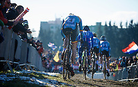Toon Aerts (BEL) in a following group<br /> <br /> Men U23 race<br /> <br /> 2015 UCI World Championships Cyclocross <br /> Tabor, Czech Republic