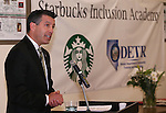Nevada Gov. Brian Sandoval speaks at a ceremony recognizing the new Starbucks Inclusion Academy at the Starbucks Carson Valley Roasting Plant &amp; Distributions Center in Minden, Nev., on Thursday, Jan. 29, 2015. The program, created by Starbucks and Nevada's Department of Employment, Training and Rehabilitation helps people with disabilities gain work skills and experience. <br />