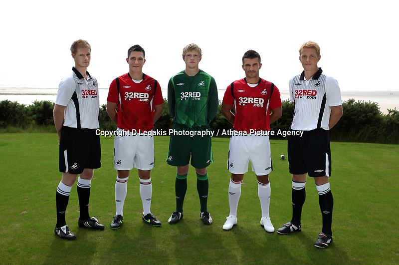 Pictured L-R: Alan Tate, Marcos Painter, unknown, Matthew (Matty) Collins and Garry Monk<br /> Re: Swansea City Football Club new kit presentation at Machybys Golf Club near Llanelli west Wales. Tuesday 23 June 2009<br /> Picture by D Legakis Photography / Athena Picture Agency, 24 Belgrave Court, Swansea, SA1 4PY, 07815441513